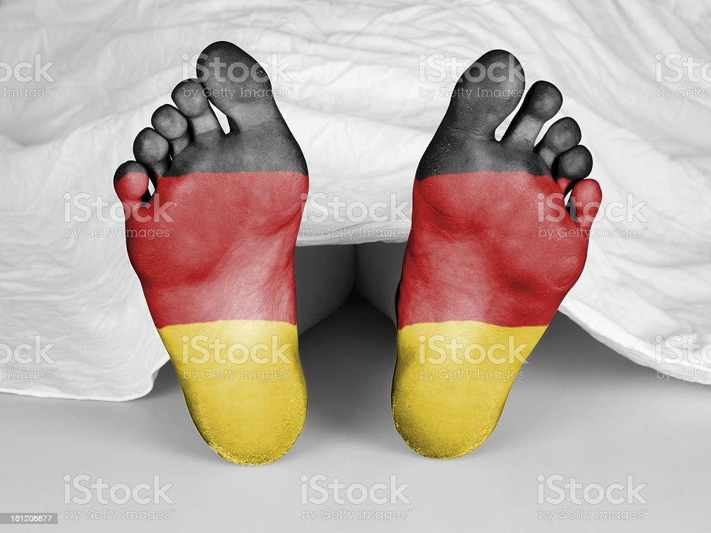 Dead body under a white sheet royalty-free stock photo