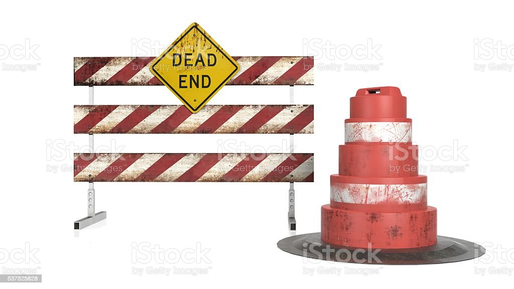 Dead End, construction sign on a fence with orange cone stock photo