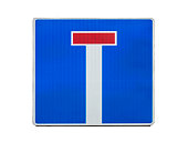 Dead end, no through road traffic sign isolated