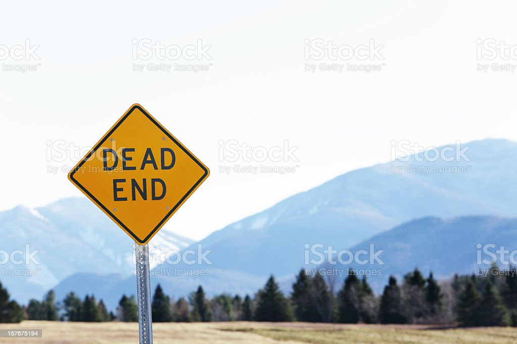 Dead End Road Sign With Distant Adirondack Mountains stock photo