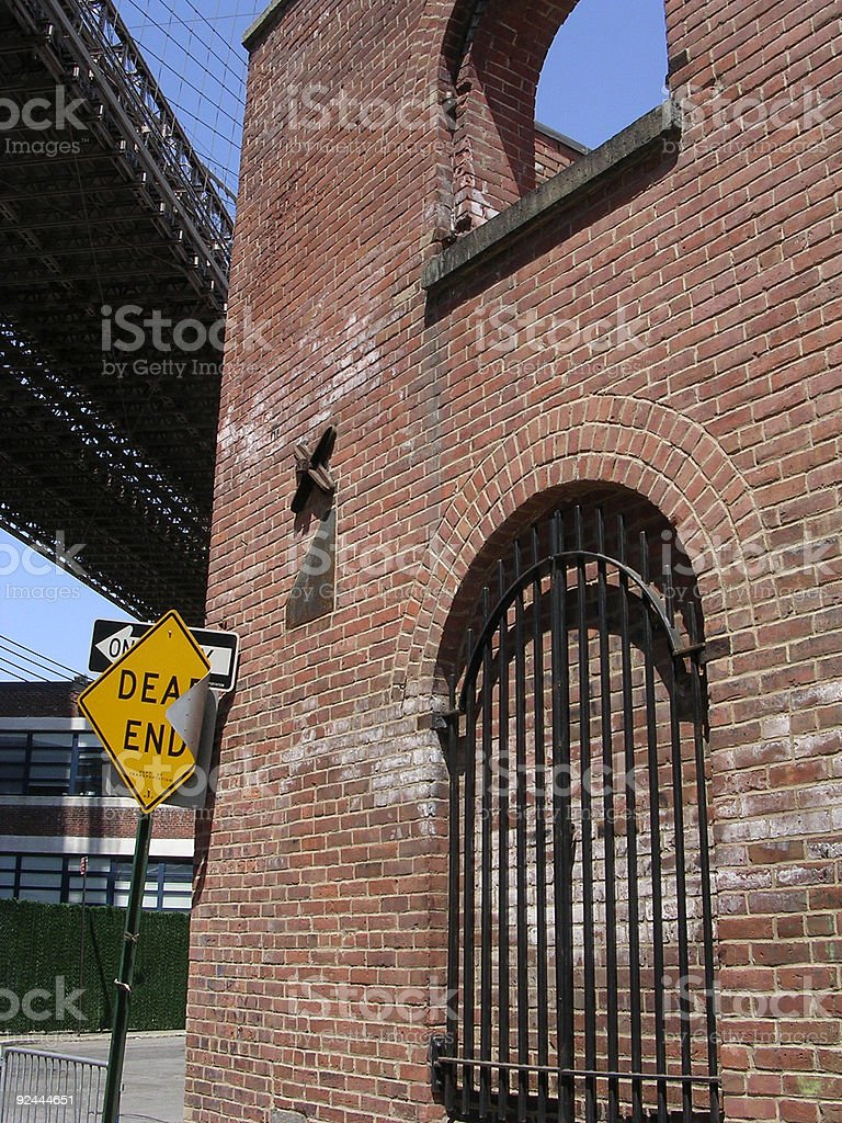 Dead End Sign and Brooklyn Bridge royalty-free stock photo