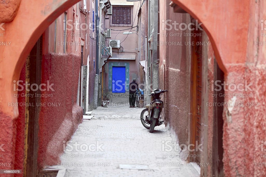 Dead end street in Marrakech stock photo