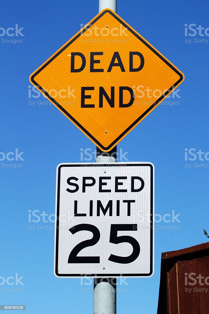 Dead End With Speed Sign stock photo
