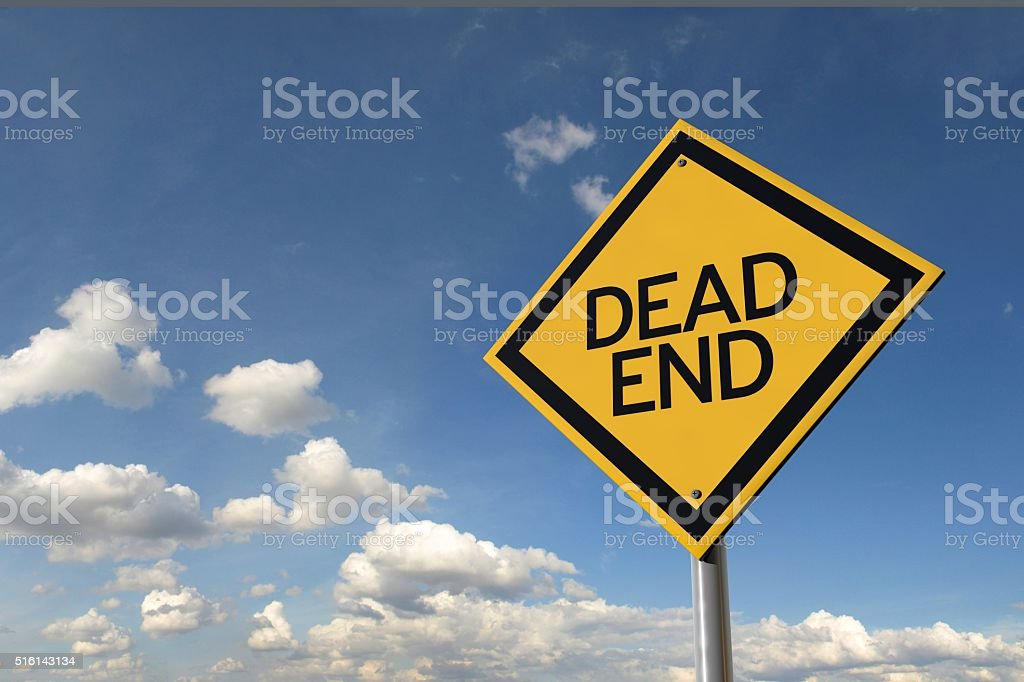 Dead end yellow highway road sign stock photo