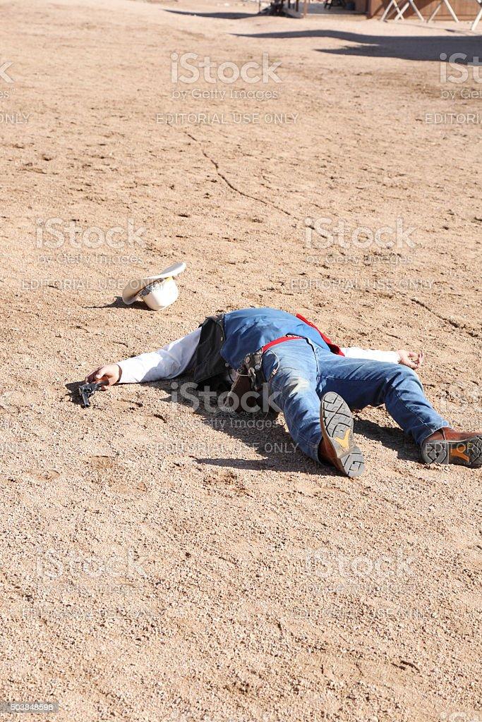 Dead Gunman stock photo