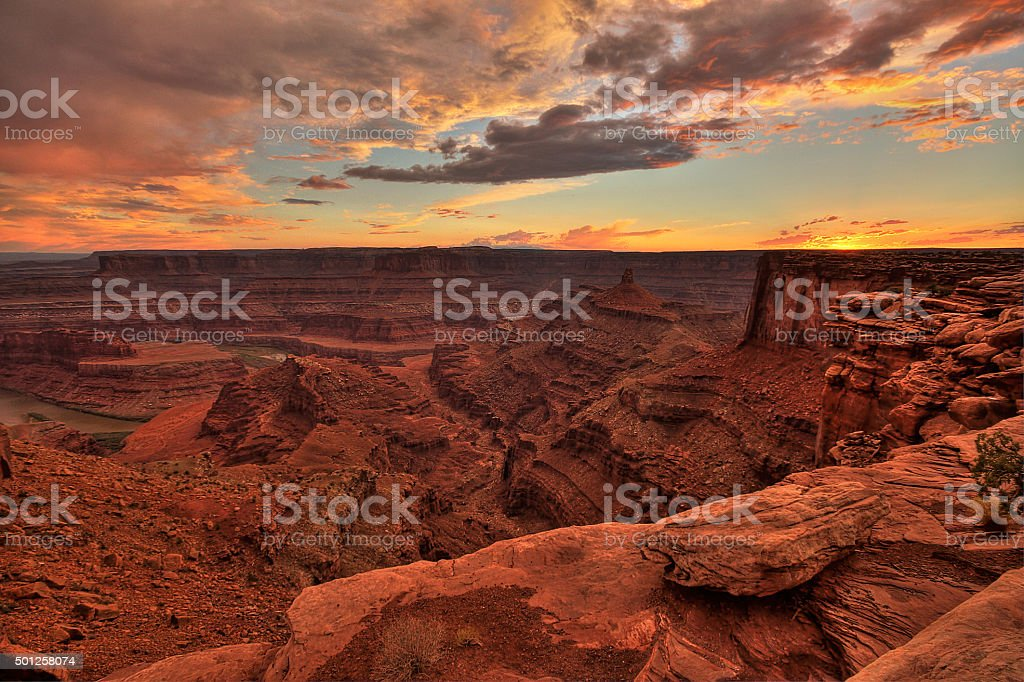 Dead horse point at sunset, Utah, USA, HDR image stock photo