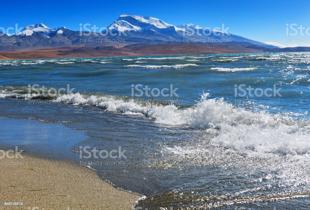 Dead lake of  Rakshas-Tal during storm and mountain range. stock photo