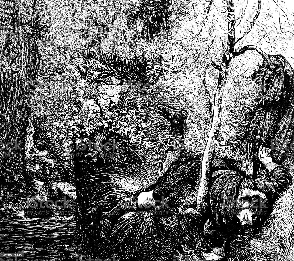 Dead man by river in woodland stock photo