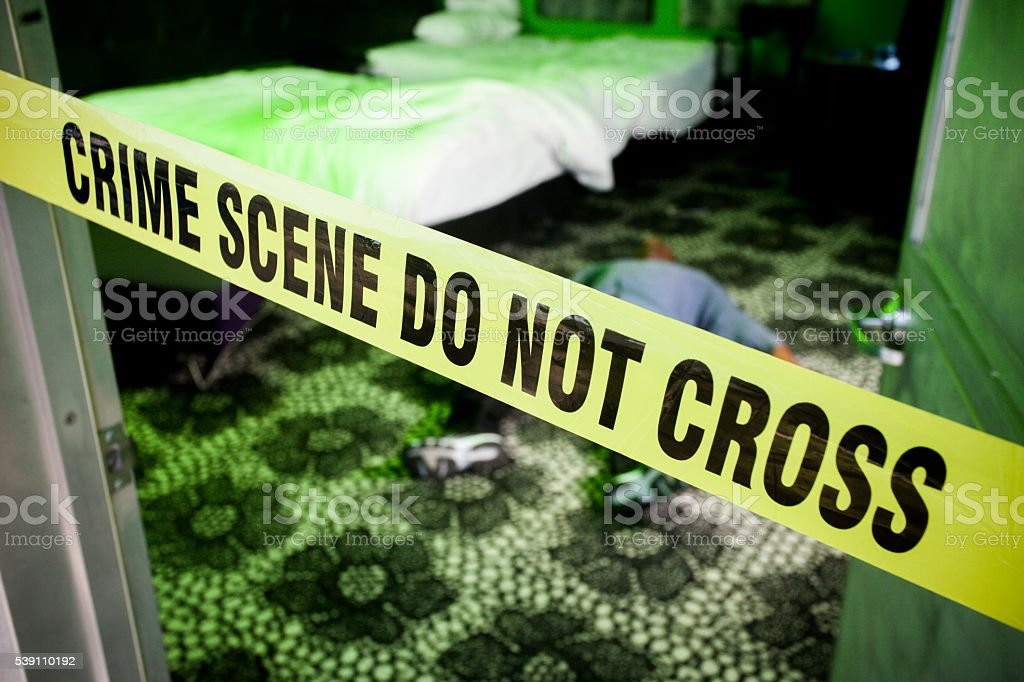 Dead Man in a Hotel Room Crime Scene stock photo