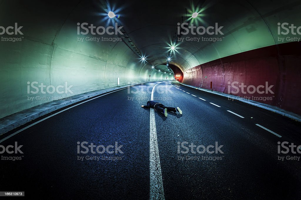 Dead Man in the Tunnel, Roadkill royalty-free stock photo