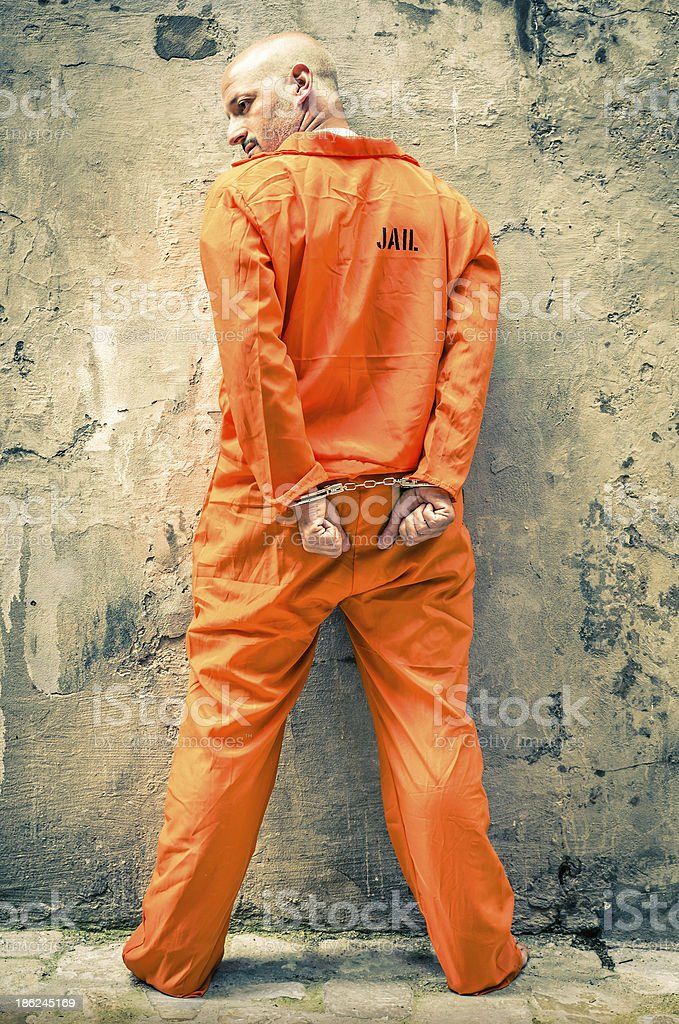 Dead Man Walking - Prisoner with Handcuffs standing proud royalty-free stock photo