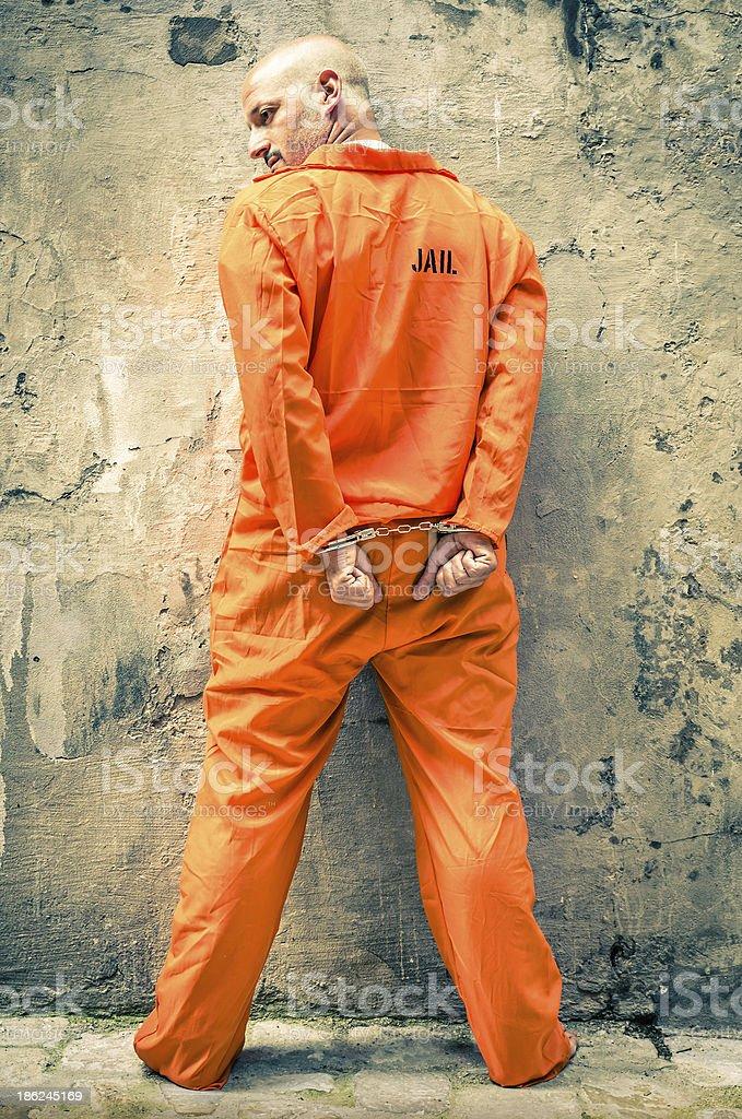 Dead Man Walking - Prisoner with Handcuffs standing proud stock photo