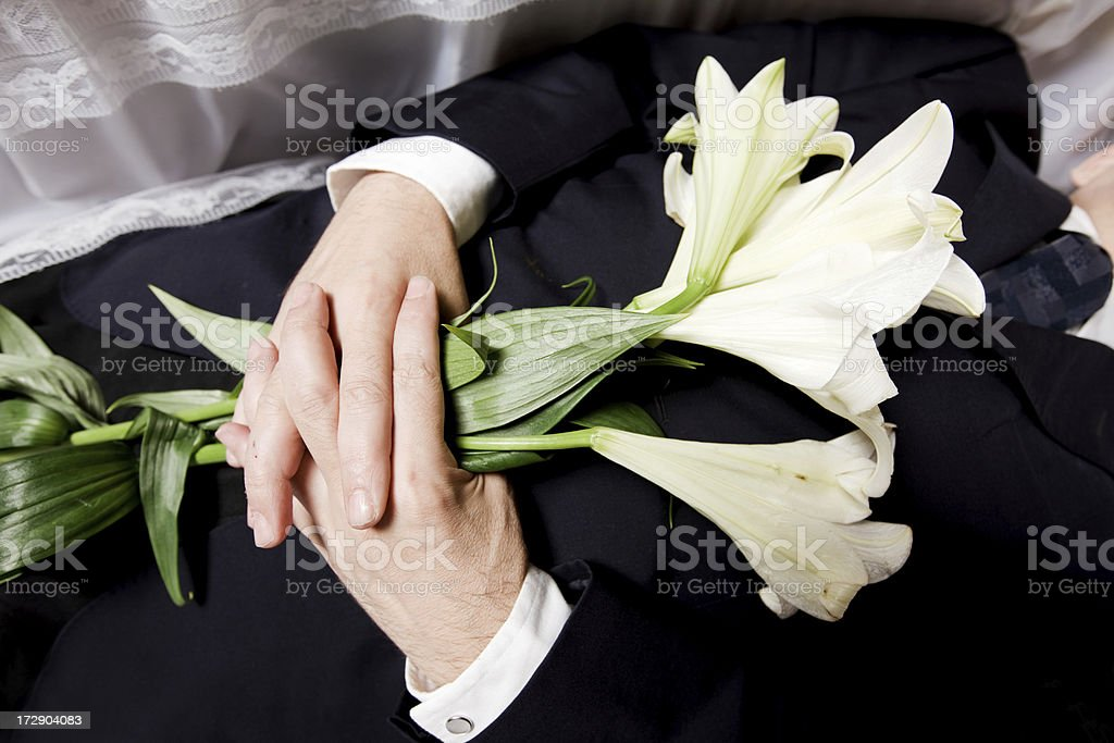 Dead man with flowers royalty-free stock photo