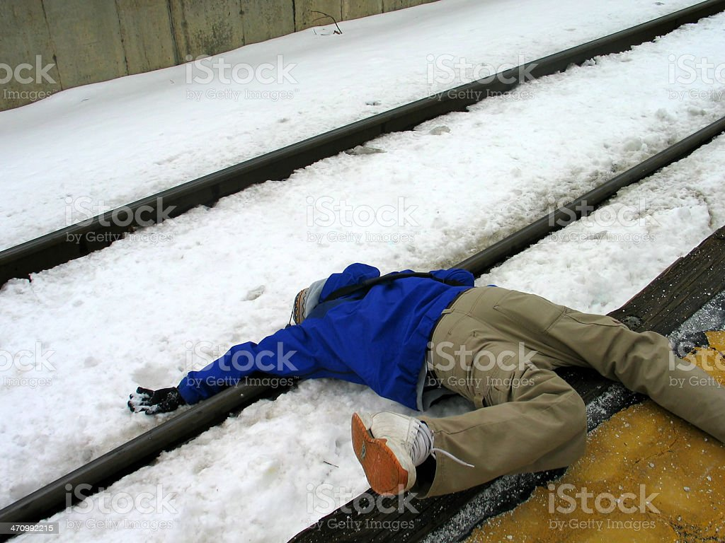 Dead on the Tracks stock photo