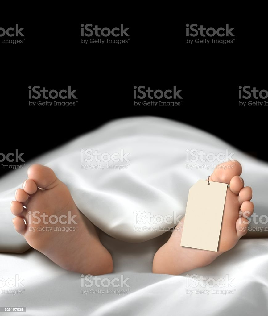 Dead person body lying in the morgue stock photo