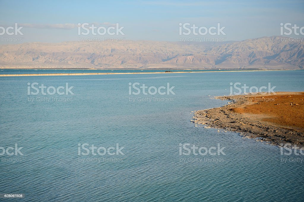 Dead Sea and the coast, lit by the sun stock photo