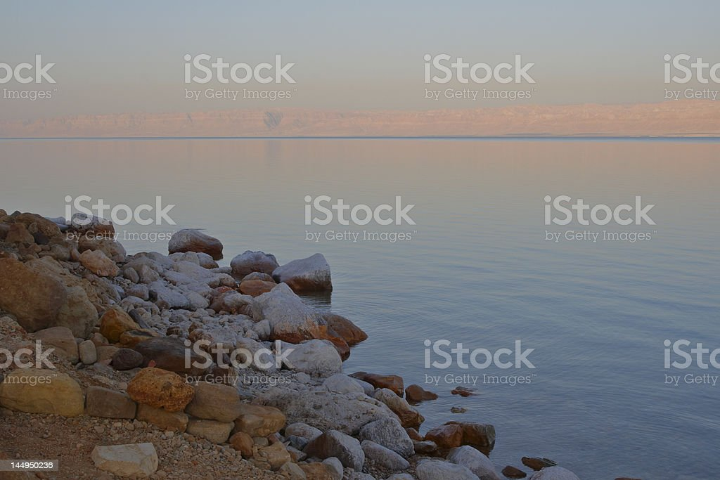 Dead Sea Dawn With Rocks royalty-free stock photo