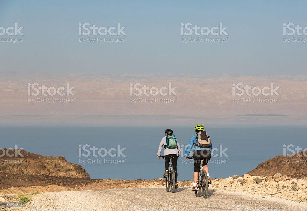 Dead Sea early morning approach, Jordan royalty-free stock photo