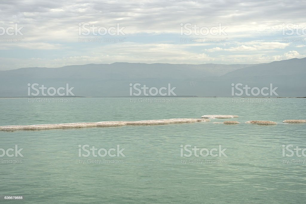 Dead Sea in cloudy weather stock photo