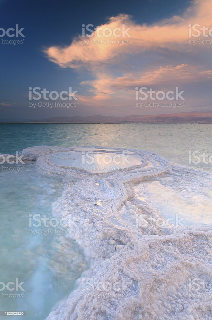 Dead Sea Shallow Waters at sunset stock photo