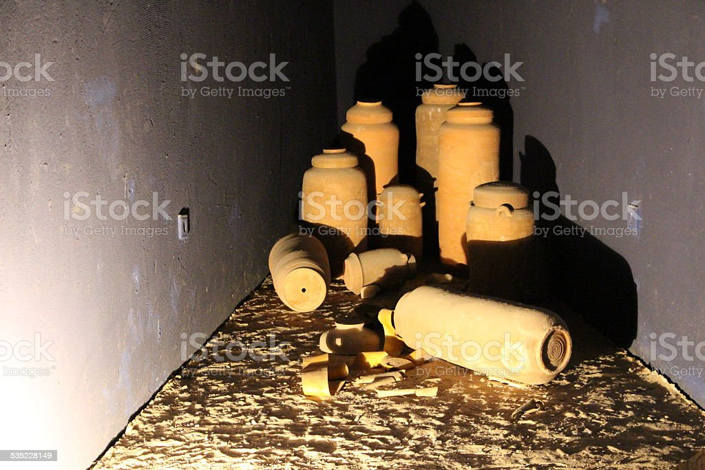 Dead Sea Sroll jars stock photo