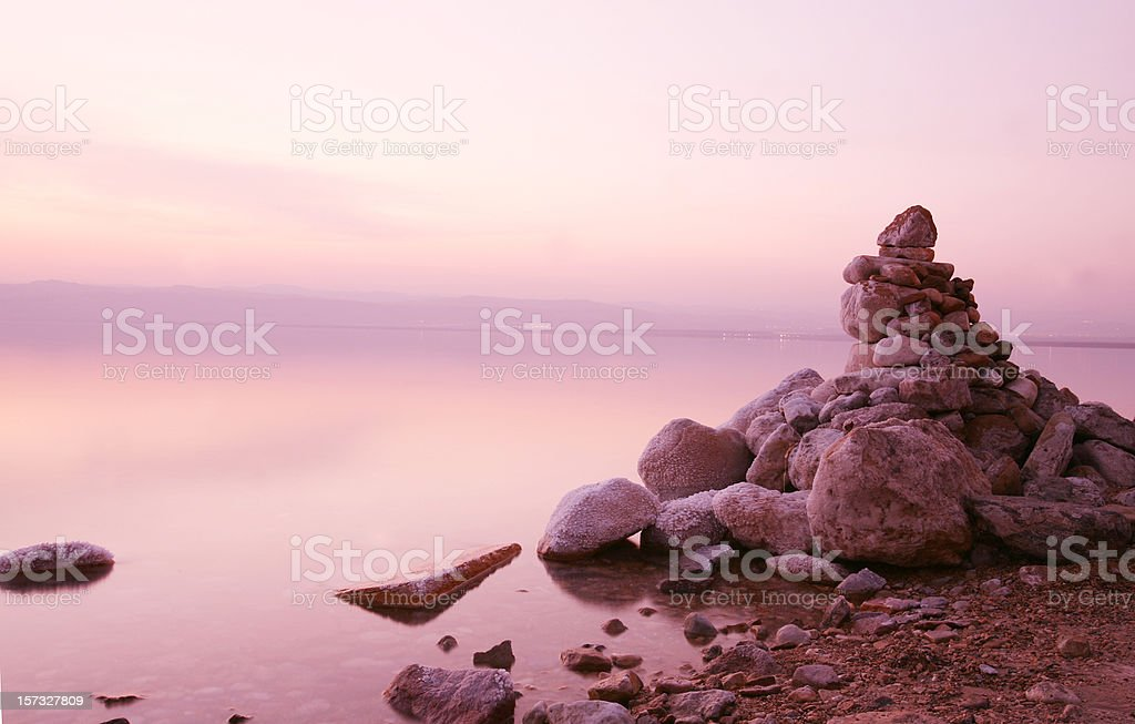 Dead sea sunset with stones royalty-free stock photo
