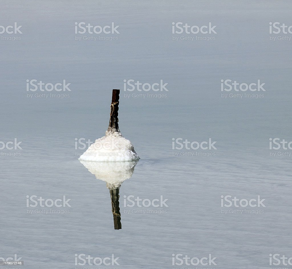 Dead sea. The metal rod gradually becomes covered with salt stock photo