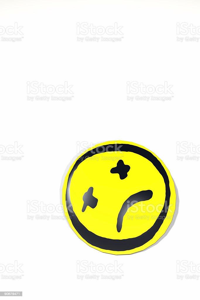 Dead Smily Button on White stock photo