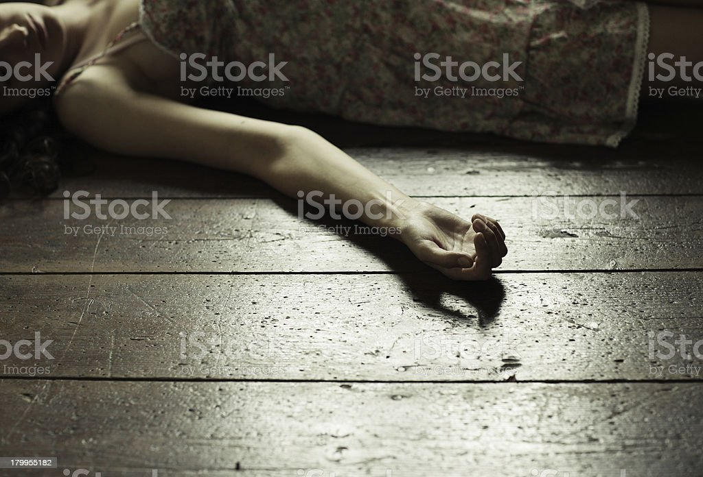 Dead woman stock photo