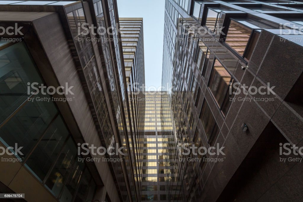 Dead-end at the bottom of skyscrapers in downtown Toronto, Canada stock photo