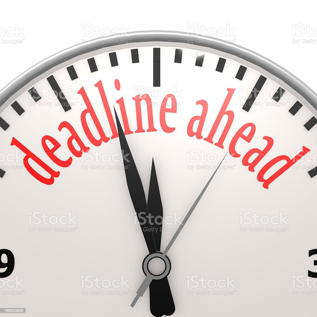 Deadline ahead clock stock photo