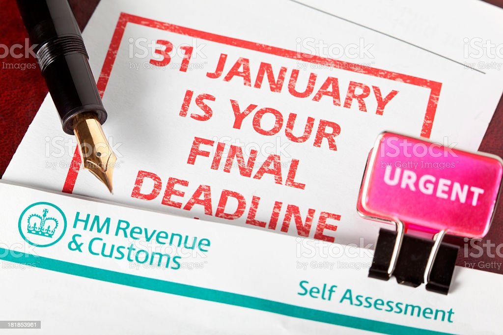 Deadline for Revenue and Customs self assessment is near stock photo