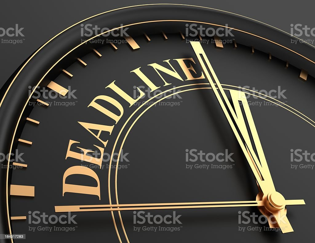 Deadline of golden words with black royalty-free stock photo