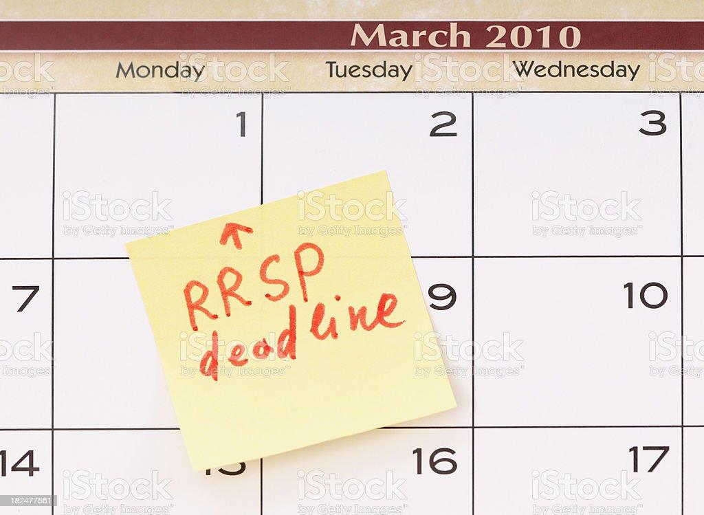 RRSP deadline reminder stock photo