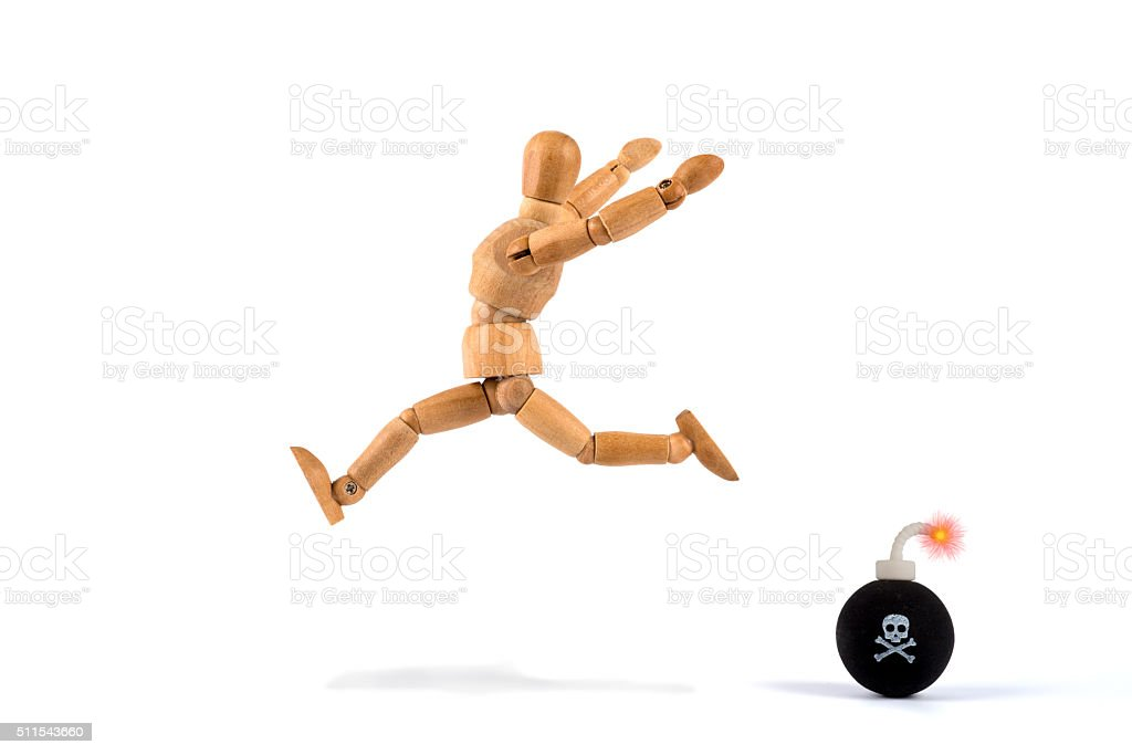 deadline - wooden mannequin and no more time to waste stock photo