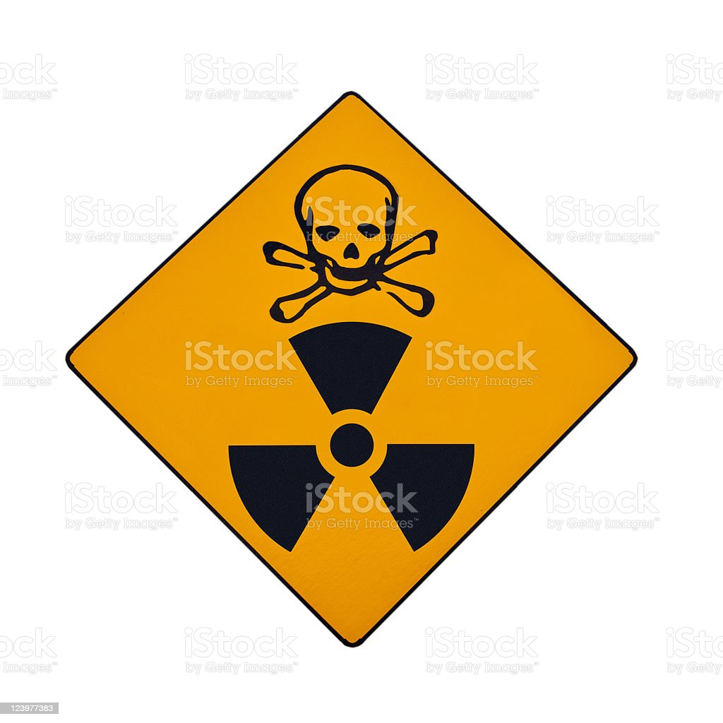 Deadly radiation warning sign, isolated royalty-free stock photo