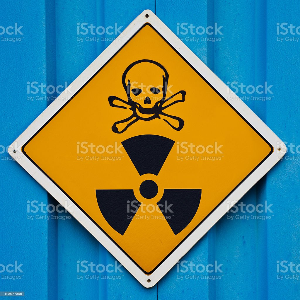 Deadly radiation warning sign royalty-free stock photo