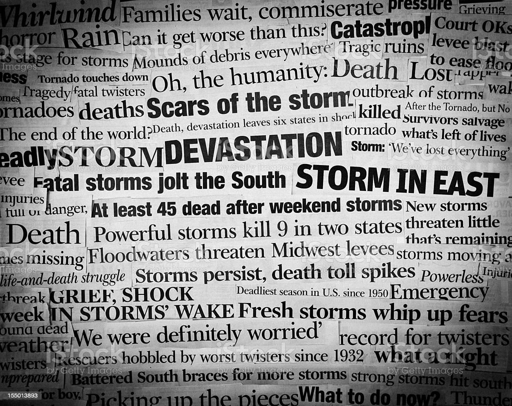 deadly storms headling collage stock photo