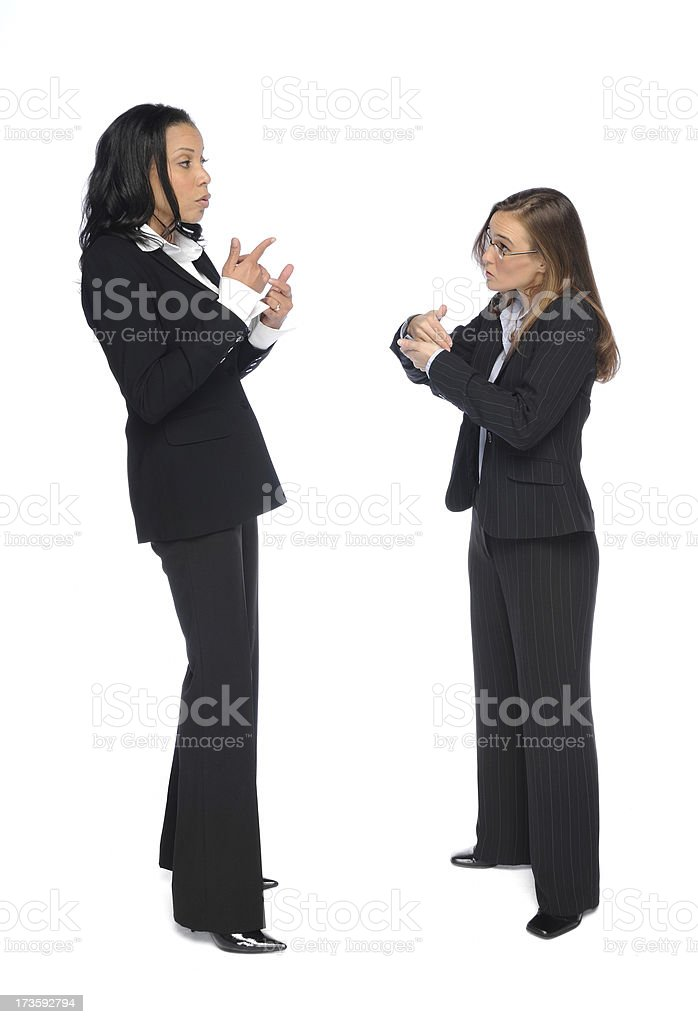 Deaf Conversation in ASL stock photo