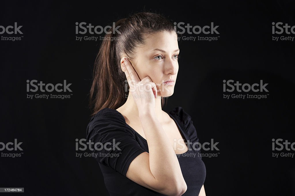 Deaf hand sign royalty-free stock photo