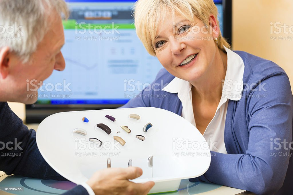 Deaf people taking a hearing test stock photo