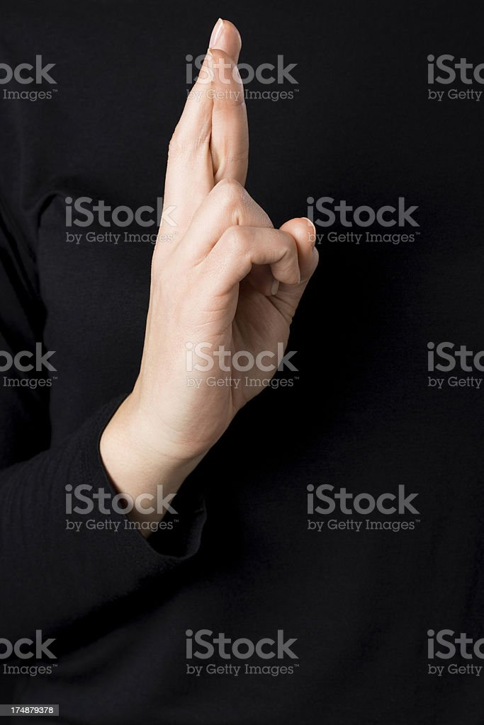 Deaf signs - letter R royalty-free stock photo