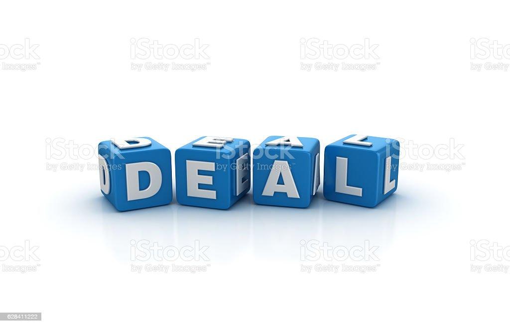 Deal Buzzword Cubes - 3D Rendering stock photo