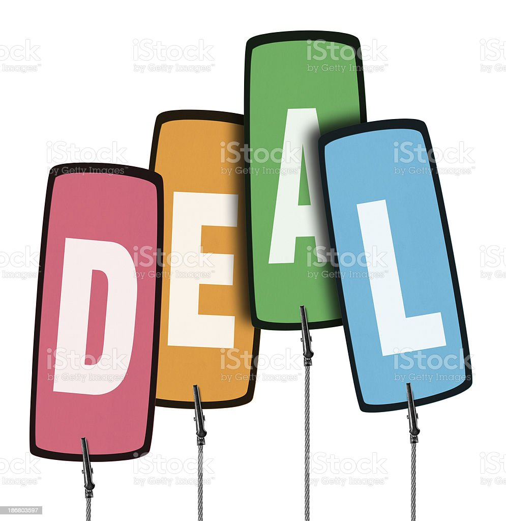 Deal Colorful Tag in Wire Clamp 4 (Clipping Path) royalty-free stock photo