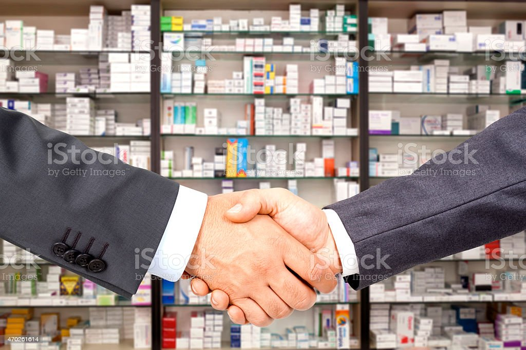 deal in the pharmacy background stock photo