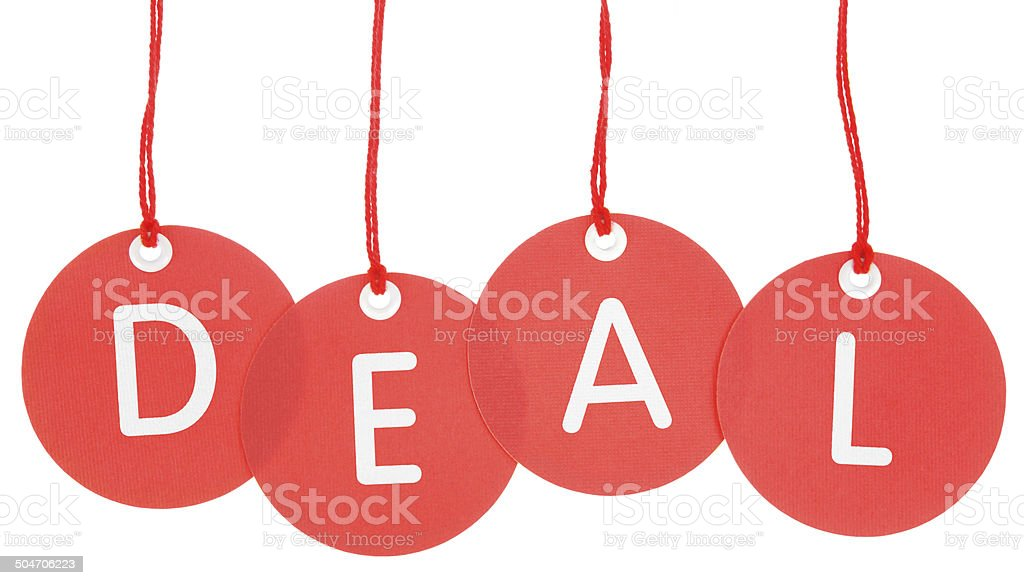 Deal - Stock Image of Isolated Red Circle Tags royalty-free stock photo