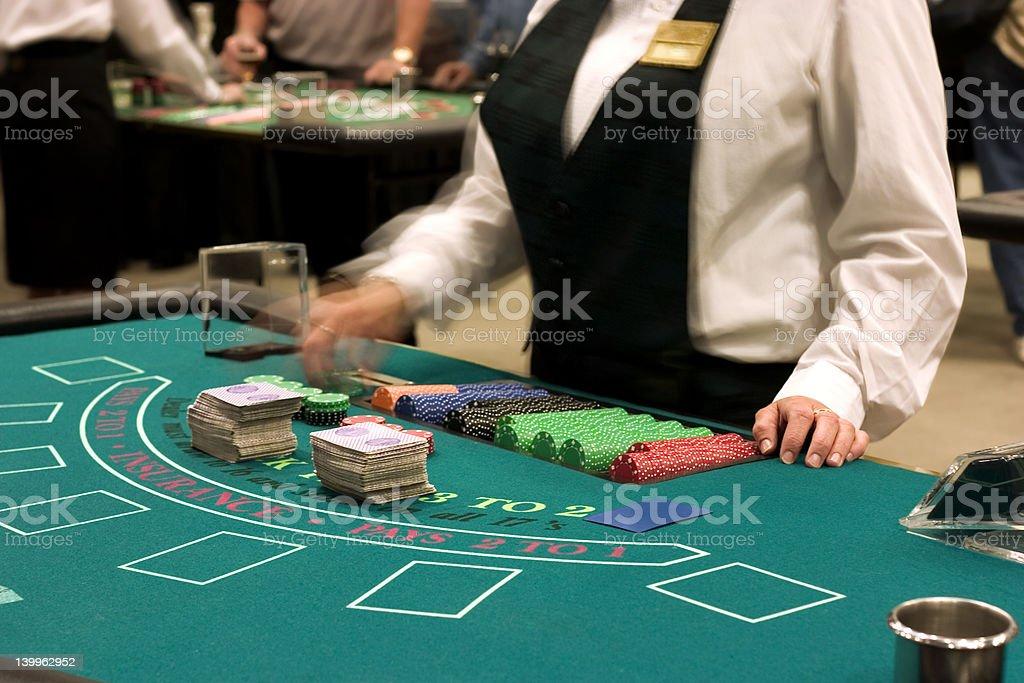 dealer at blackjack table royalty-free stock photo