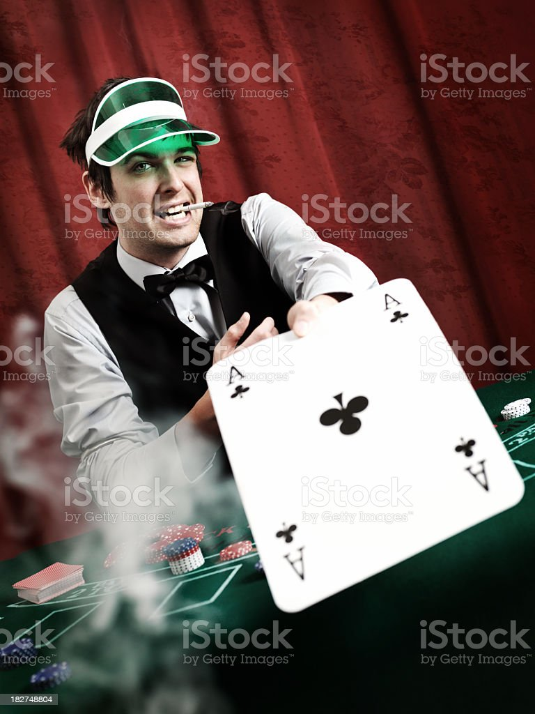 Dealer giving ace stock photo