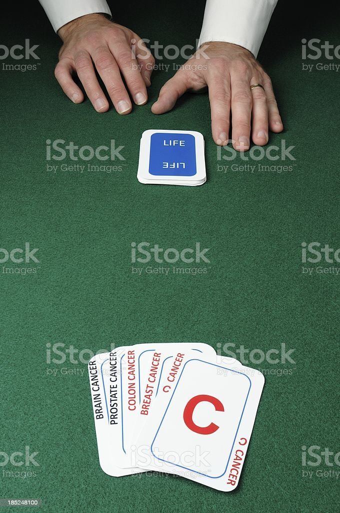 Dealer with cancer cards stock photo