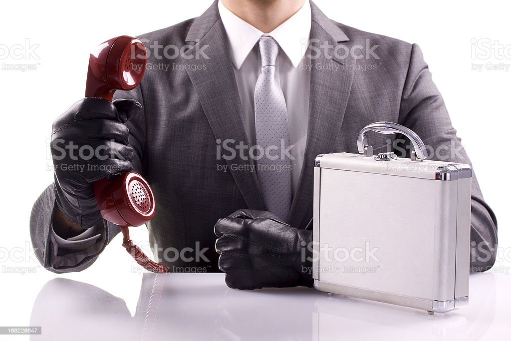 Dealer with Case and Phone royalty-free stock photo